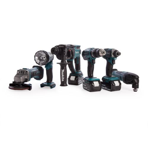 Makita DLX6075M 18V LXT 6 Piece Combo Kit - DHP453 Combi Drill, DTD152 Impact Driver, DTM50 Multi-Cutter, DGA452 Angle Grinder, DHR202 SDS Plus Drill &DML185 Torch (3 x 4.0Ah Batteries) - 7