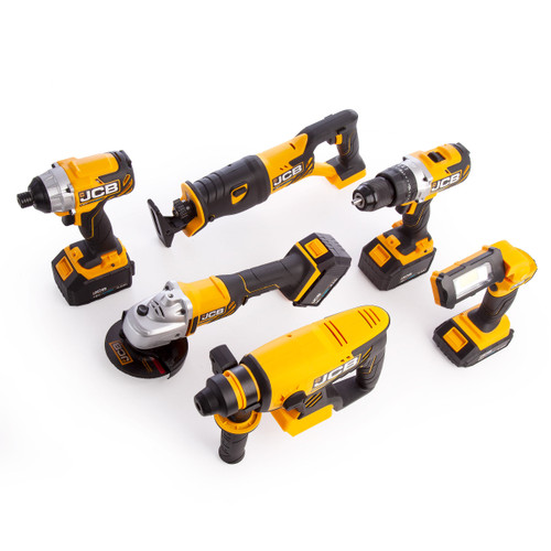 JCB 186PK-V1 18V 6 Piece Kit - 18BLCD Combi Drill, 18BLID Impact Driver, 18RS Reciprocating Saw, 18AG 115mm Angle Grinder, 18BLRH SDS+ Rotary Hammer & 18IL Inspection Light (3 x 5.0Ah & 1 x 2.0Ah Batteries) in Kitbag
