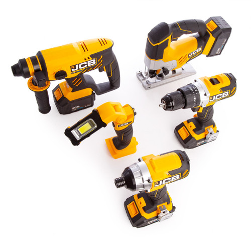 JCB 185PK-V2 18V 5 Piece Kit - 18BLCD Combi Drill, 18BLID Impact Driver, 18BLRH SDS+ Rotary Hammer, 18JS Jigsaw & 18IL Inspection Light (2 x 5.0Ah + 2 x 2.0Ah Batteries) with 3 x L-Boxxes - 10