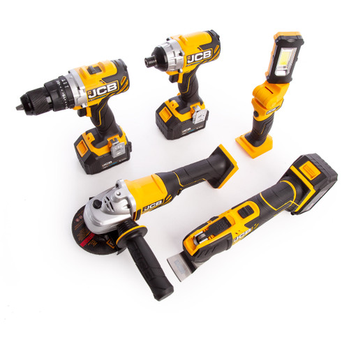 JCB-185PK-V3 18V 5 Piece Kit - 18BLCD Combi Drill, 18BLID Impact Driver, 18MT Multi-Tool, 18AG Angle Grinder & 18IL Inspection Light (3 x 5.0Ah Batteries) with 3 x L-Boxxes