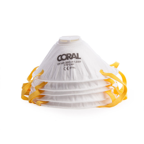Buy Coral 78300 Essentials FFP1 Valved Dust Masks (Pack Of 5) at Toolstop