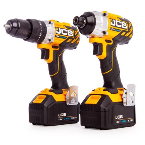 JCB 18BL-TPK1 18V Brushless Twin Pack - 18BLCD Combi Drill + 18BLID Impact Driver (2 x 5.0Ah Batteries) with L-Boxx - 5
