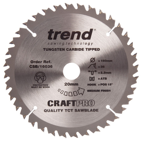Trend CSB/16036 CraftPro Saw Blade Combination  Festool TS55 Plunge Saw 160mm x 36T - 1