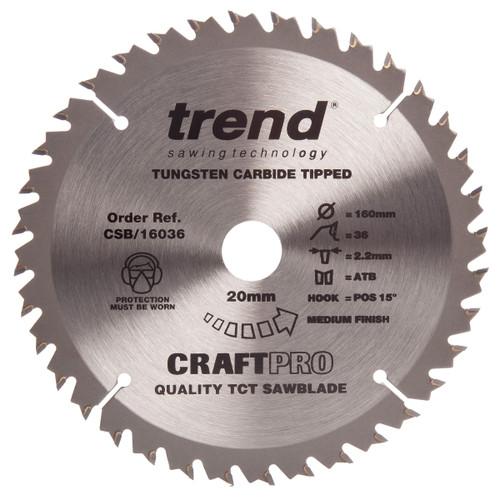 Trend CSB/16036 CraftPro Saw Blade Combination  Festool TS55 Plunge Saw 160mm x 36T - 1