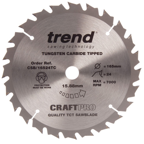 Trend CSB/16524TC CraftPro Saw Blade General Purpose 165mm x 24T - 2