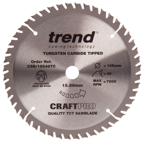 Trend CSB/16548B CraftPro Saw Blade Crosscut 165mm x 48T - 2