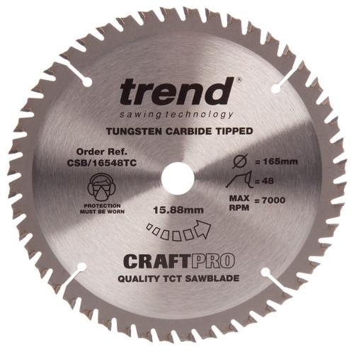 Trend CSB/16548B CraftPro Saw Blade Crosscut 165mm x 48T - 2