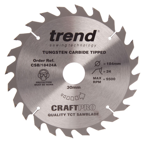 Trend CSB/18424A CraftPro Saw Blade General Purpose 184mm x 24T - 2
