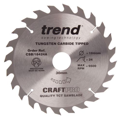 Trend CSB/18424A CraftPro Saw Blade General Purpose 184mm x 24T - 2