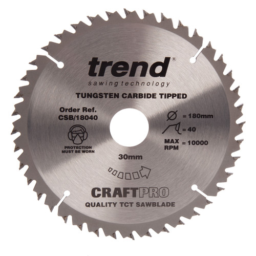 Trend CSB/18040 CraftPro Saw Blade Crosscut 180mm x 40T - 2