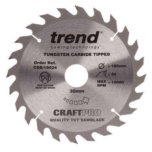 Trend CSB/18024 CraftPro Saw Blade General Purpose 180mm x 24T - 2