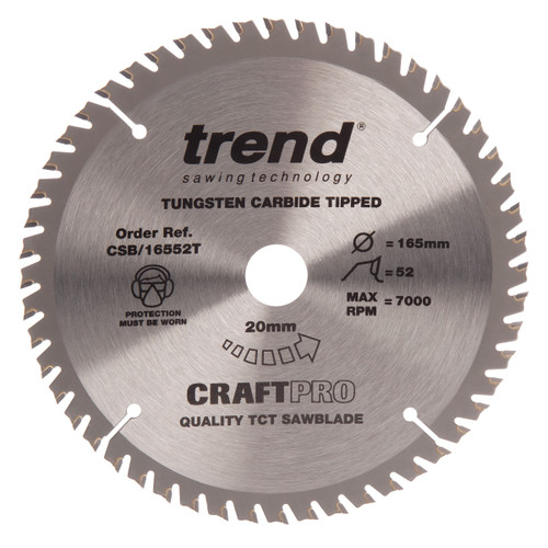 Trend CSB/16552T CraftPro Saw Blade Fine Trim 165mm x 52T - 2