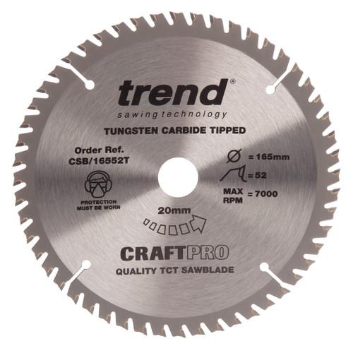 Trend CSB/16552T CraftPro Saw Blade Fine Trim 165mm x 52T - 2