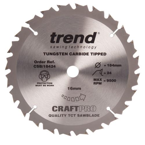 Trend CSB/18424 CraftPro Saw Blade General Purpose 184mm x 24T - 2