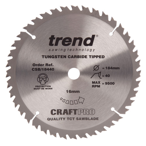 Trend CSB/18440 CraftPro Saw Blade Crosscut 184mm x 40T - 2