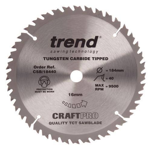 Trend CSB/18440 CraftPro Saw Blade Crosscut 184mm x 40T - 2