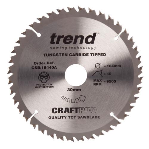 Trend CSB/18440A CraftPro Saw Blade Crosscut 184mm x 40T - 2