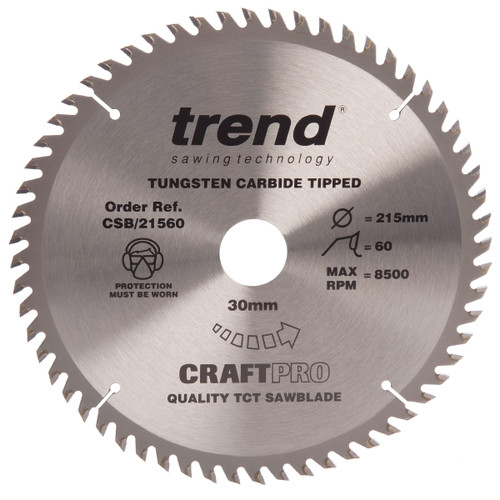 Trend CSB/21560 CraftPro Saw Blade Fine Trim 215mm x 60T - 2