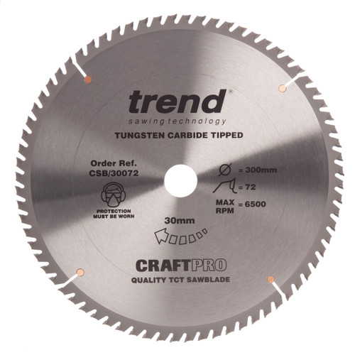 Trend CSB/30072 CraftPro Saw Blade Crosscut 300mm x 72T - 2