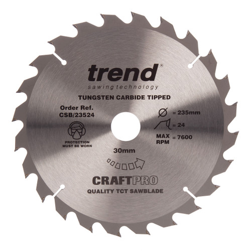 Trend CSB/23524 CraftPro Saw Blade General Purpose 235mm x 24T - 2