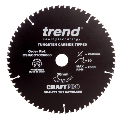 Trend CSB/CCTC26060 Craft Pro Saw Blade Mitre Saw Crosscutting 260mm x 60T - 1