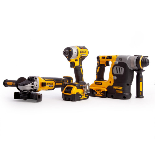 Dewalt DCK305P2T 18V XR Brushless 3 Piece Kit - DCH273 Rotary Hammer, DCF887 Impact Driver & DCG405 Angle Grinder (2 x 5.0Ah Batteries) - 10