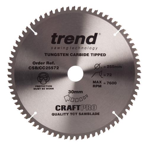 Trend CSB/CC25572 CraftPro Saw Blade Mitre Saw Crosscutting 255mm x 72T - 2