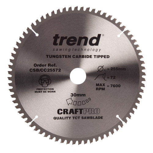 Trend CSB/CC25572 CraftPro Saw Blade Mitre Saw Crosscutting 255mm x 72T - 2