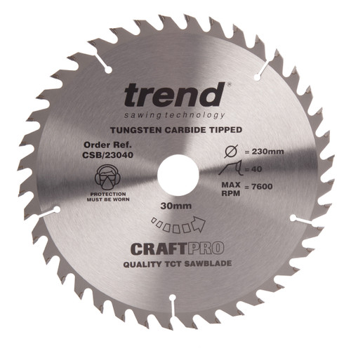 Trend CSB/23040 CraftPro Saw Blade Combination 230mm x 40T - 2