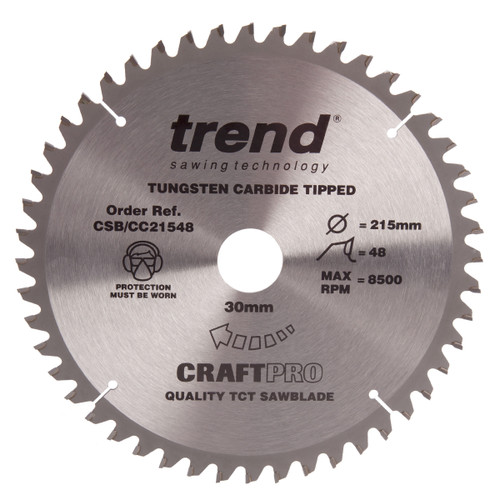 Trend CSB/CC21548 CraftPro Saw Blade Mitre Saw Crosscutting 215mm x 48T - 1