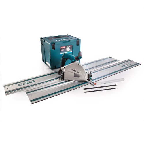Makita SP6000J 165mm Plunge Saw With 2 x 199141-8 1.5m Guide Rails & Connector Bar 110V - 2