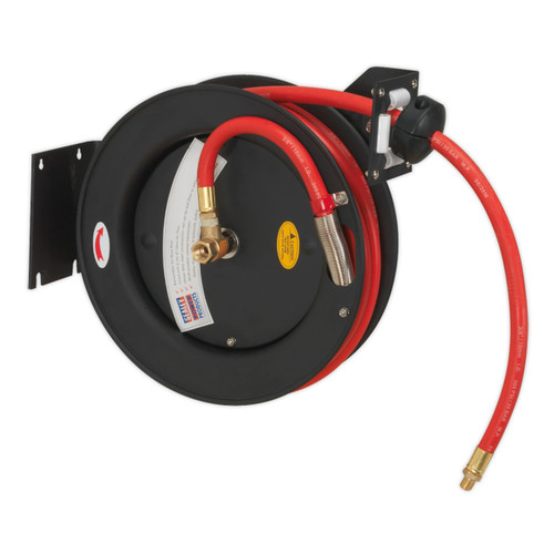 Sealey SA841 Retractable Air Hose Metal Reel 15m Ø10mm ID Rubber Hose - 1
