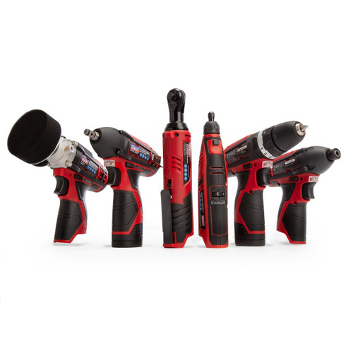Sealey CP1200COMBO2 12V 6 Piece Kit - CP1201 Hammer Drill/Driver, CP1202 Ratchet Wrench, CP1203 Impact Driver, CP1204 Impact Wrench, CP1205 Polisher & CP1207 Rotary Tool + Engraver Kit (2 x 1.5Ah Batteries) - 3