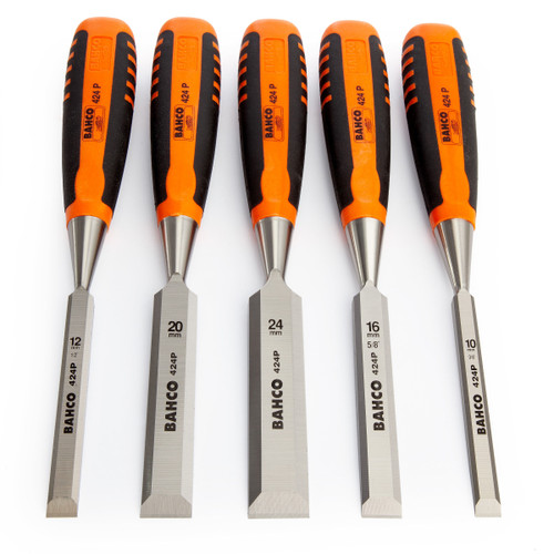 Bahco 424P-S5-ROLL Woodworking Chisel Set in a Roll 5 Piece - 4