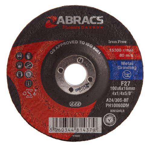 Abracs PH10060DM Phoenix Metal Grinding Disc 100mm x 6mm x 16mm - 1