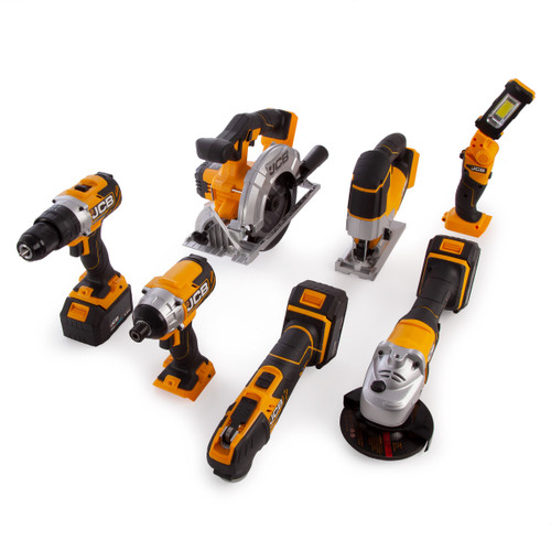JCB 187PK-TS 18V 7 Piece Kit - 18BLCD Combi Drill, 18AG Angle Grinder, 18BLID Impact Driver, 18MT Multi-Tool, 18CS Circular Saw, 18JS Jigsaw & 18IL Inspection Lamp (3 x 5.0Ah Batteries) - 7