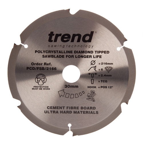 Buy Trend PCD/FSB/2166 Professional Cement Fibre Board Coarse Finish Saw Blade 216mm x 6T at Toolstop