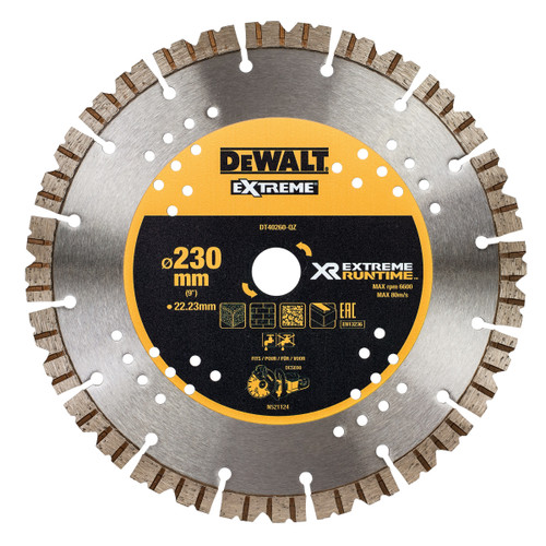 DEWALT DT40260 XR Flexvolt Diamond Blade Extreme Runtime 230mm x 22mm - 2