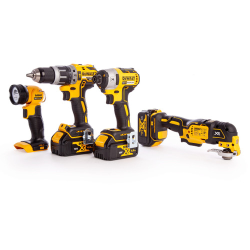 Dewalt DCK497M3T 18V XR Brushless 4 Piece Kit - DCD796 Combi Drill, DCF887 Impact Driver, DCS355 Multi-Tool & DCL040 LED Pivot Torch (3 x 4.0Ah Batteries) - 7