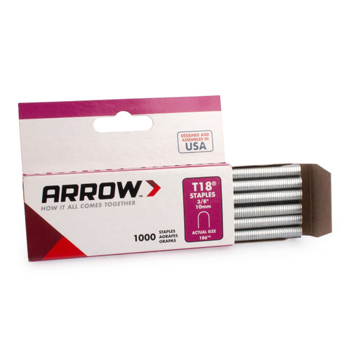 """Arrow A186 T18 Round Crown Staples 3/8"""" (Pack Of 1000) - 2"""