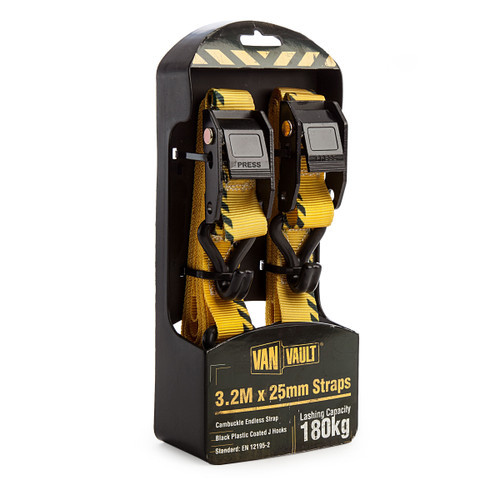 Van Vault S10672 Ratchet J Hook Straps 3.2 Metres x 25mm (1 Pair) - 1