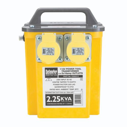 Defender E202212 2.25 kVA Transformer 2 x 16A 110V Outlets - 1