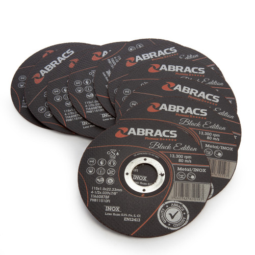 Abracs PHB11510FI Black Edition Extra Thin Cutting Discs 115 x 1 x 22.3mm (Pack Of 10)