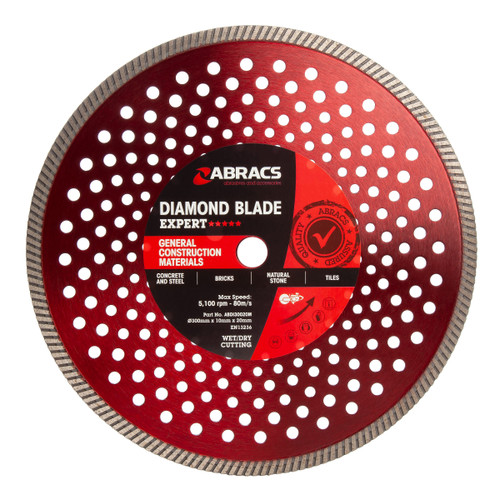 Abracs ABDI30020M Expert General Construction Diamond Blade 300mm x 10mm x 20 mm - 1