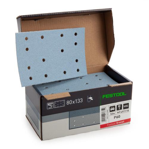Festool 497118 StickFix Abrasive Sheets 80 x 133 mm P60 GR/50 Granat (Pack Of 50) - 1