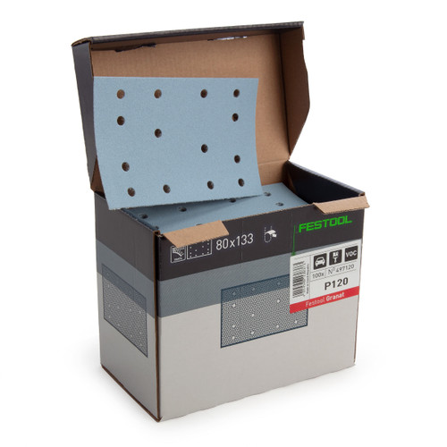 Festool 497120 StickFix Abrasive Sheets 80 x 133 mm P120 GR/100 Granat (Pack Of 100) - 1