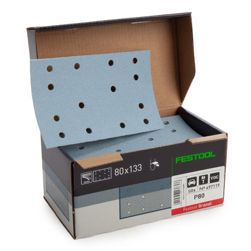 Festool 497119 StickFix Abrasive Sheets 80 x 133 mm P80 GR50 Granat (Pack Of 50) - 1
