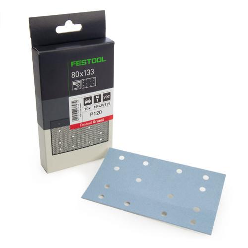 Festool 497129 StickFix Abrasive Sheets 80 x 133 mm P120 GR/10 Granat (Pack Of 10) - 1