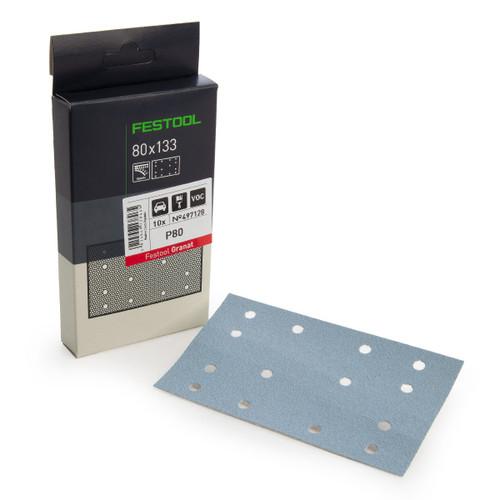 Festool 497128 StickFix Abrasive Sheets 80 x 133 mm P80 GR/10 Granat (Pack Of 10) - 1