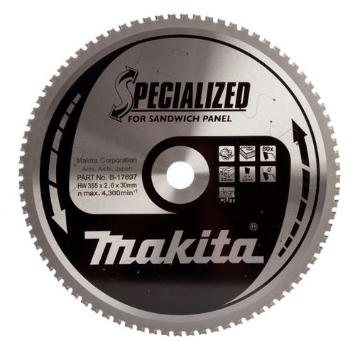 Makita B-17697 TCT Blade for Sandwich Panel 355mm x 30mm x 80T - 2